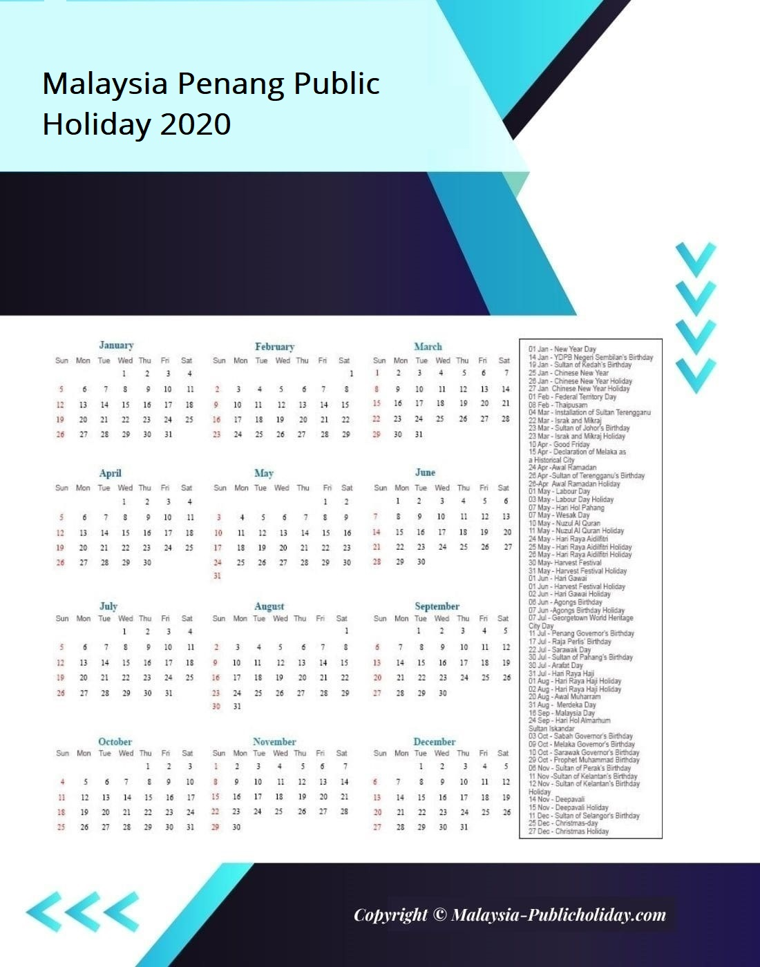 Penang Calendars with Holidays 2020