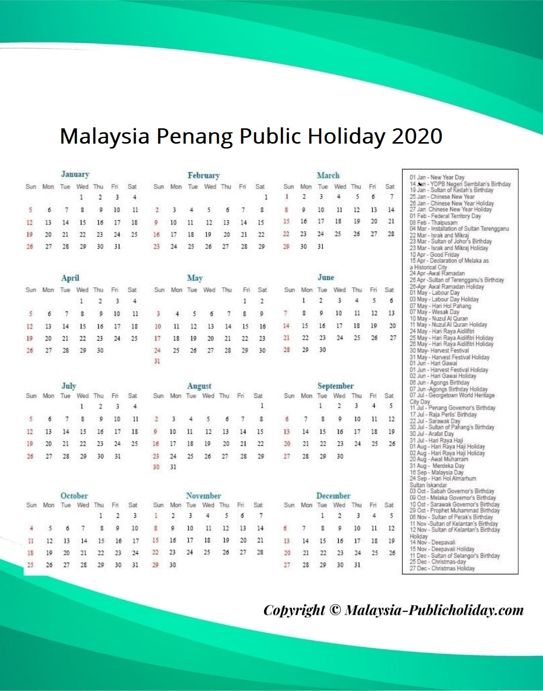 Penang Public Holiday 2020