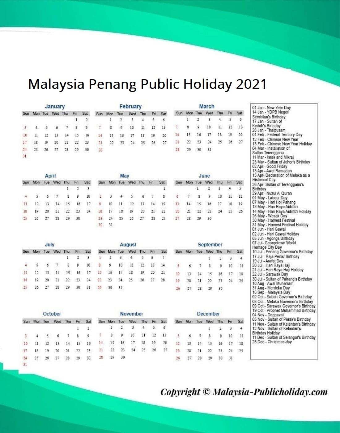 Penang Public Holiday 2021