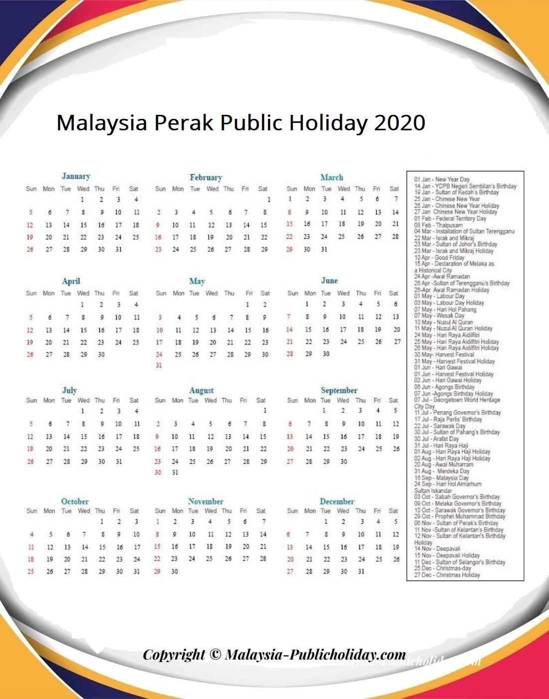 Perak Calendars 2020 Malaysia