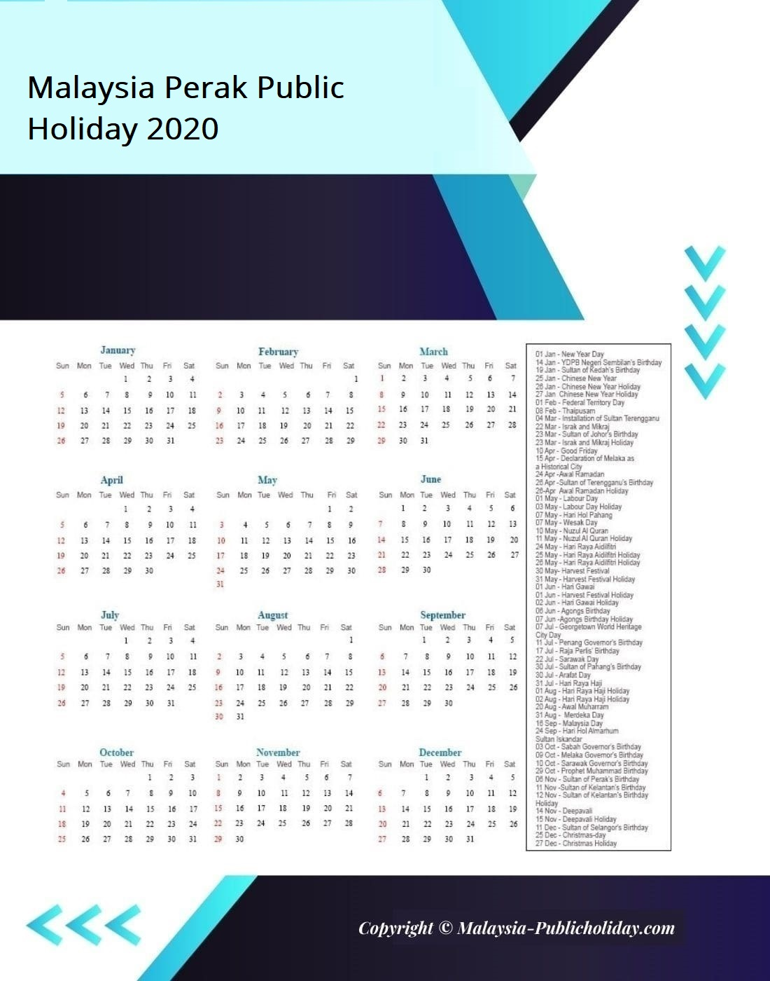 Perak Calendars with Holidays 2020