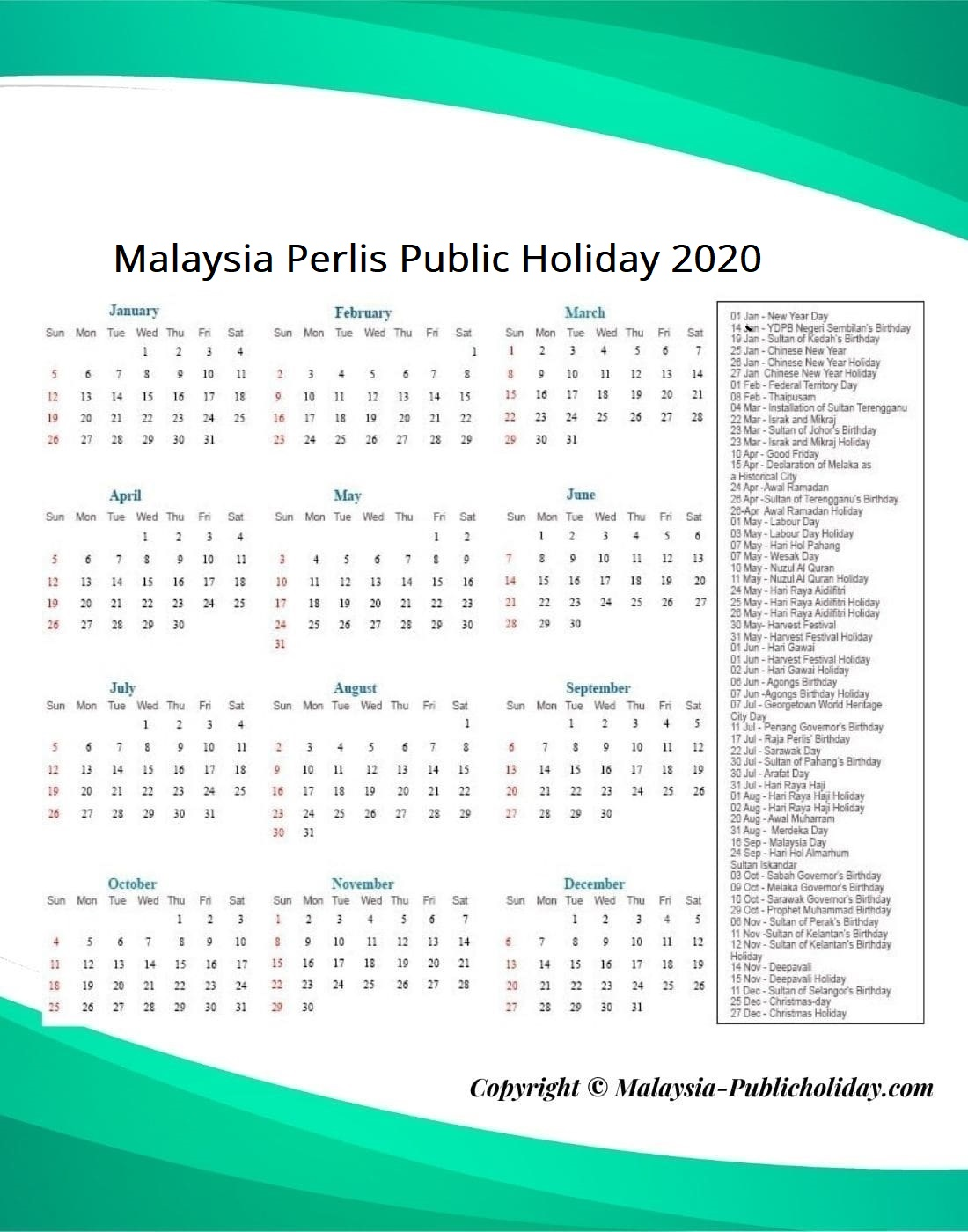 Perlis Public Holiday 2020