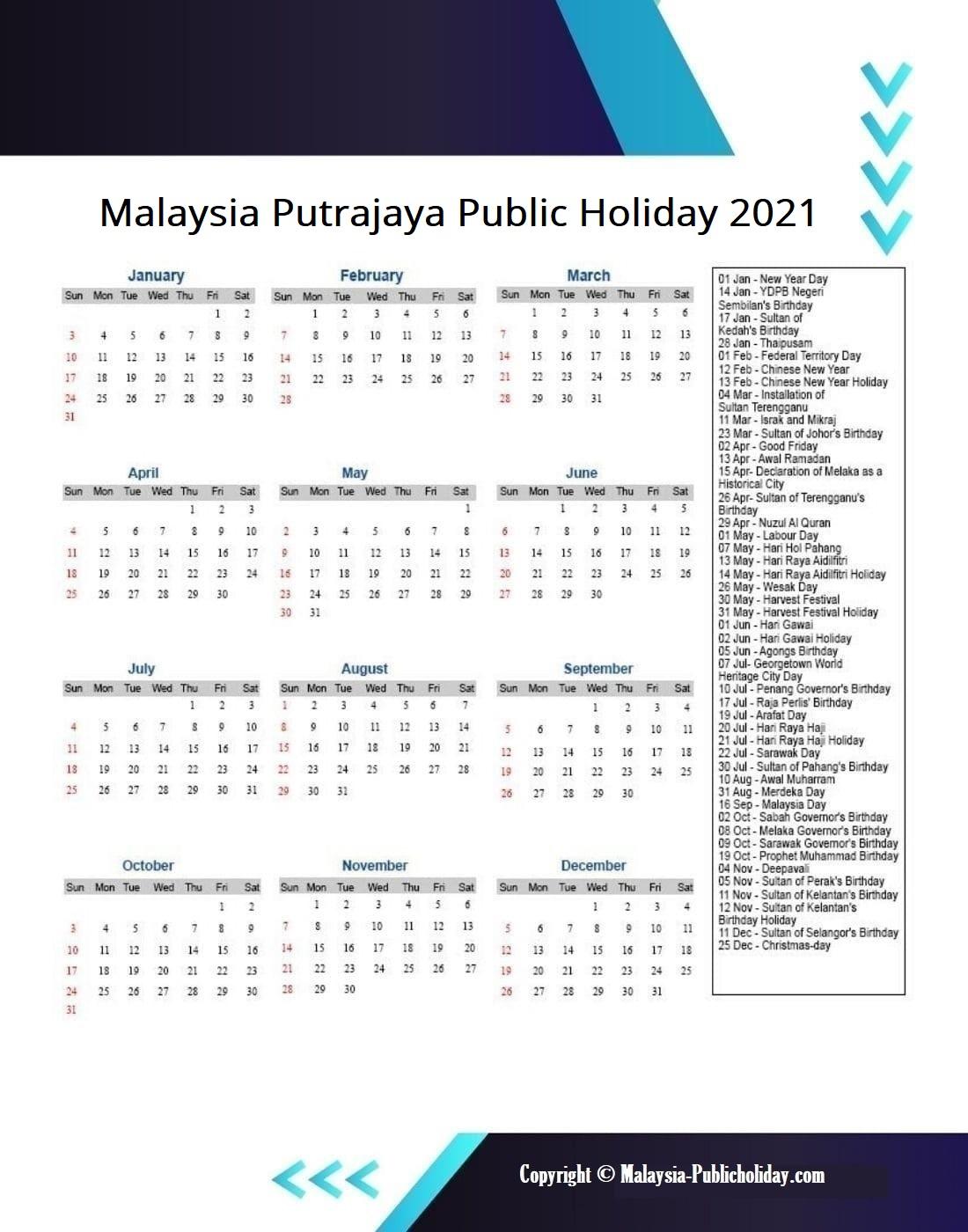 Putrajaya Calendars 2021 Malaysia