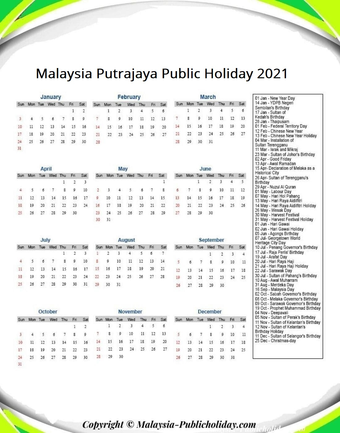Putrajaya Calendars with Holidays 2021