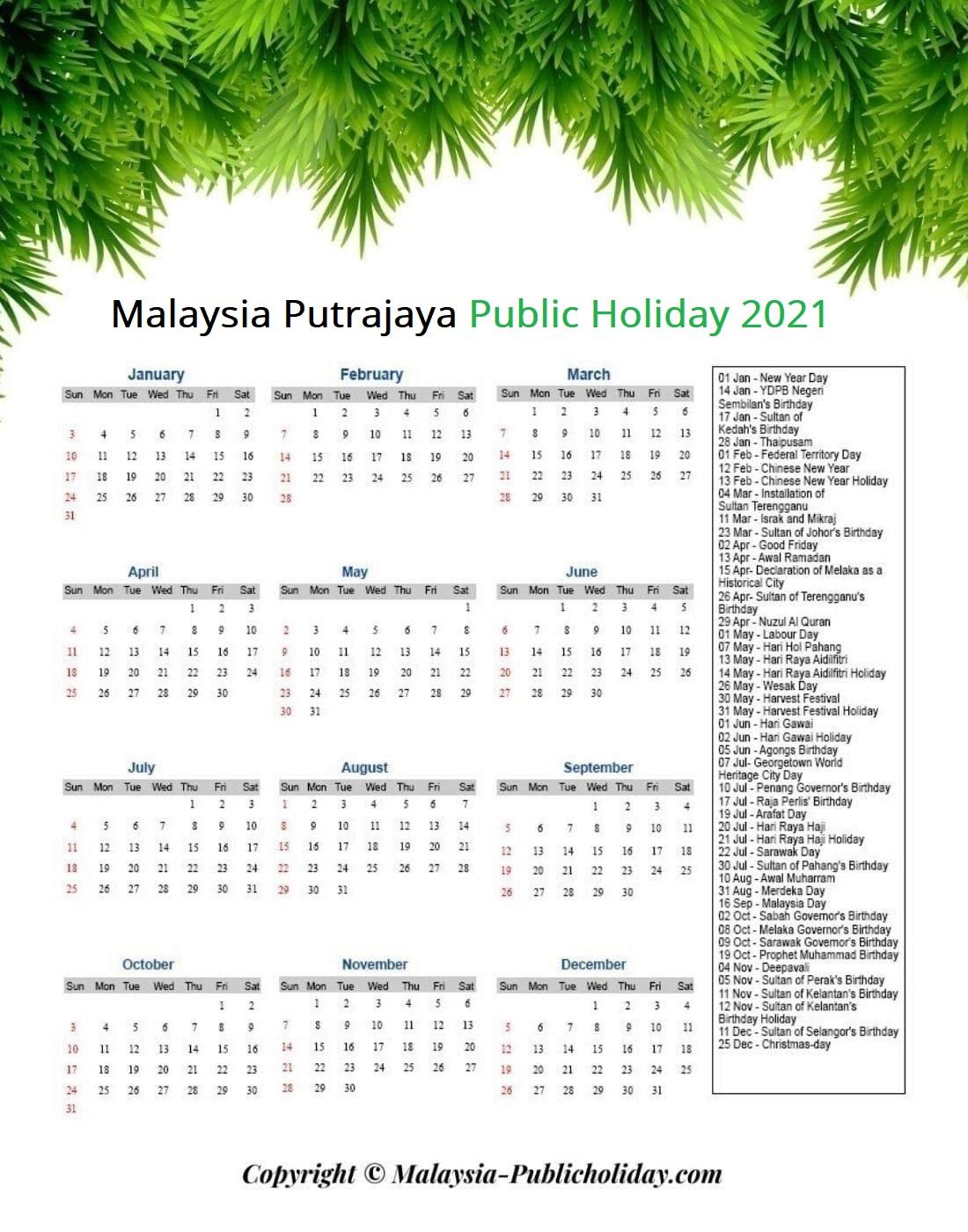 Putrajaya Holiday 2021 Malaysia