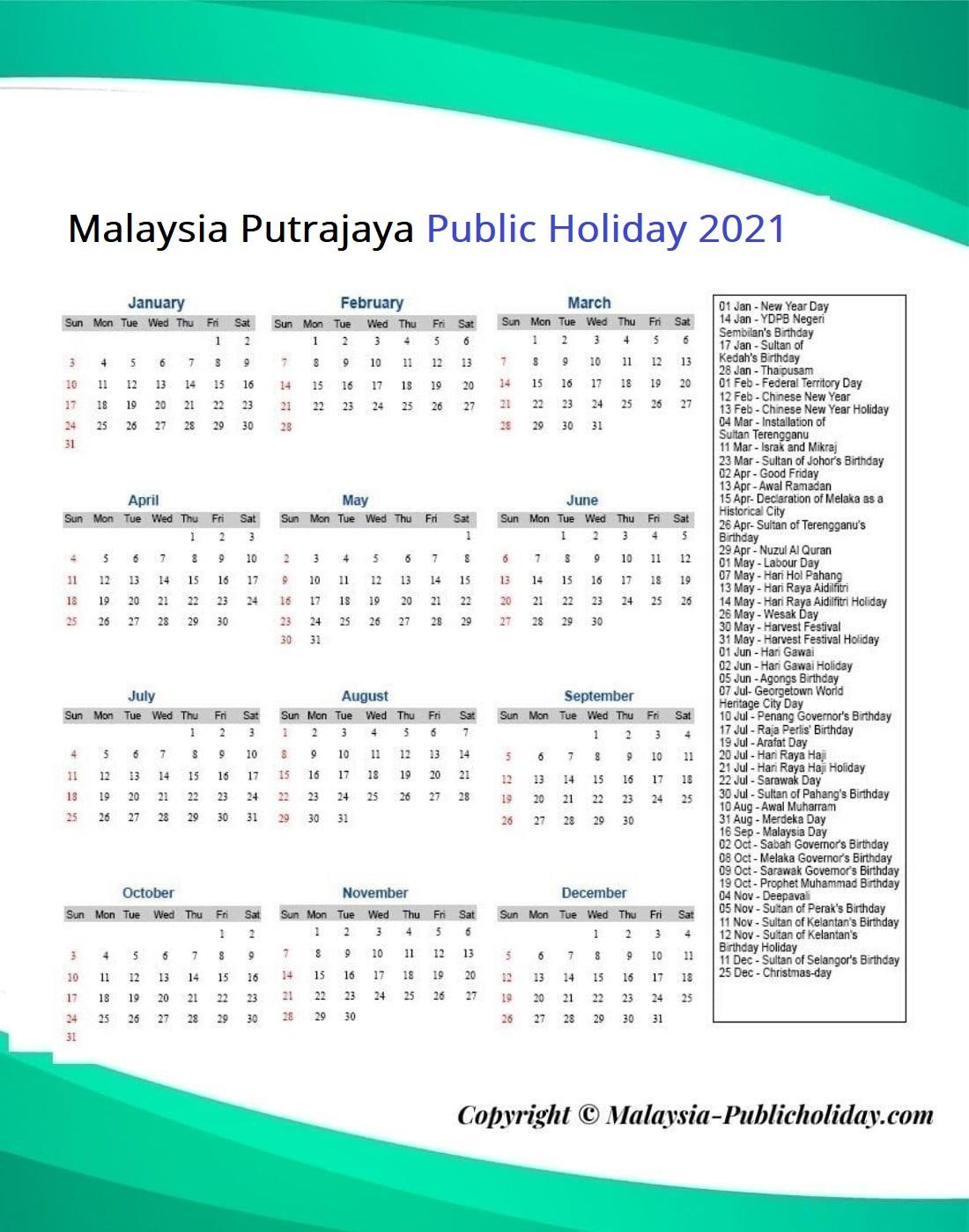 Putrajaya Public Holiday 2021
