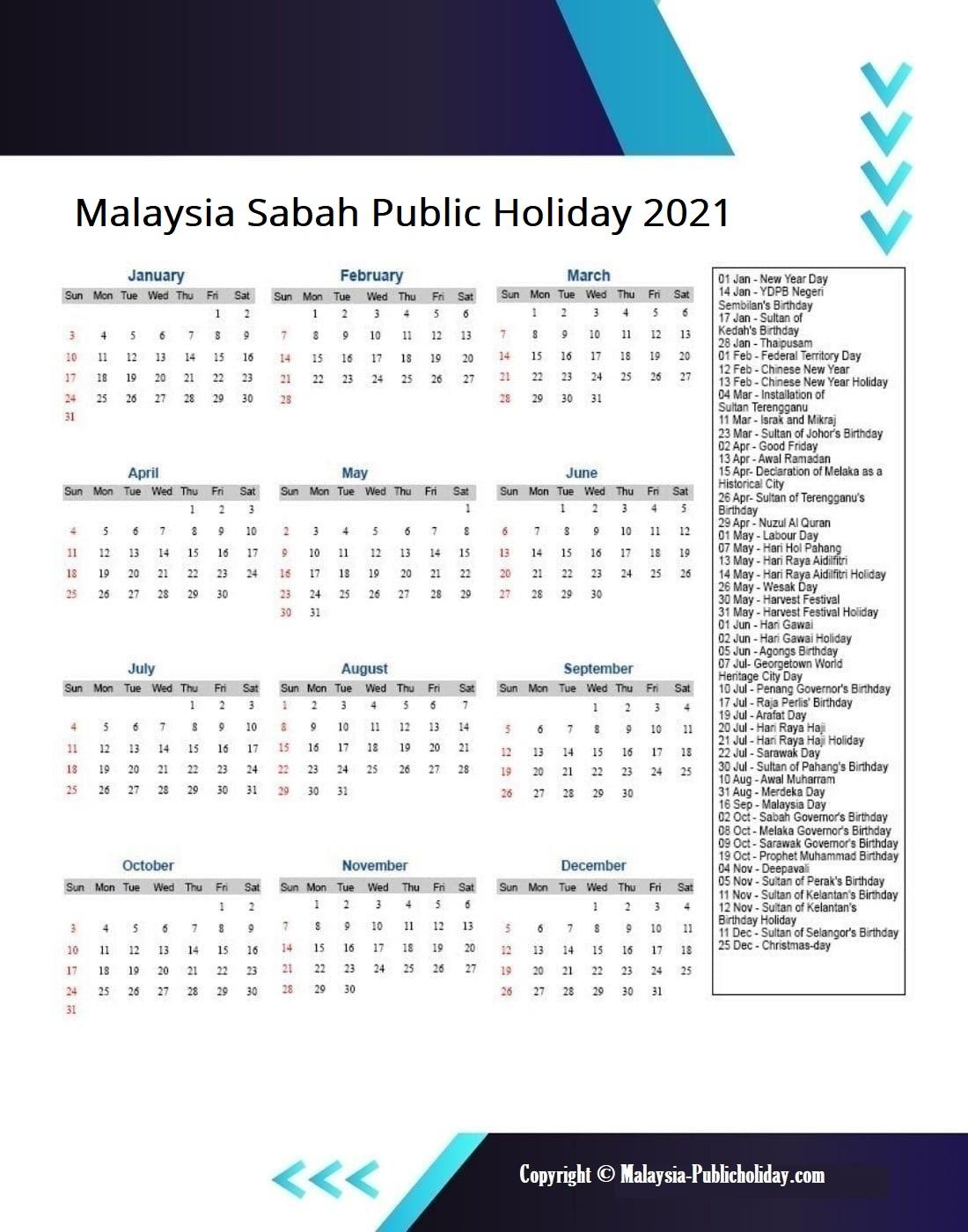 Sabah Calendars 2021 Malaysia