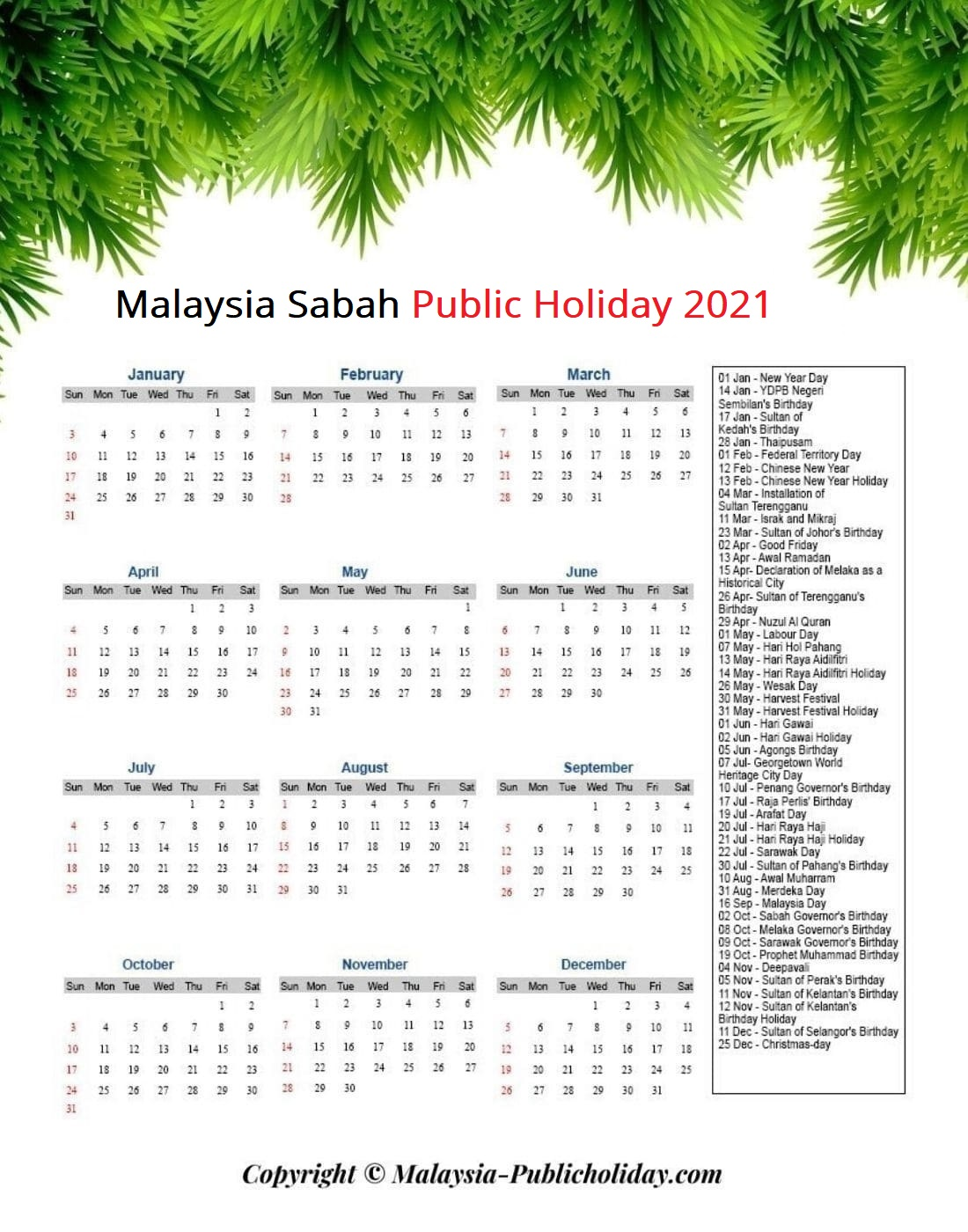 Sabah Holiday 2021 Malaysia