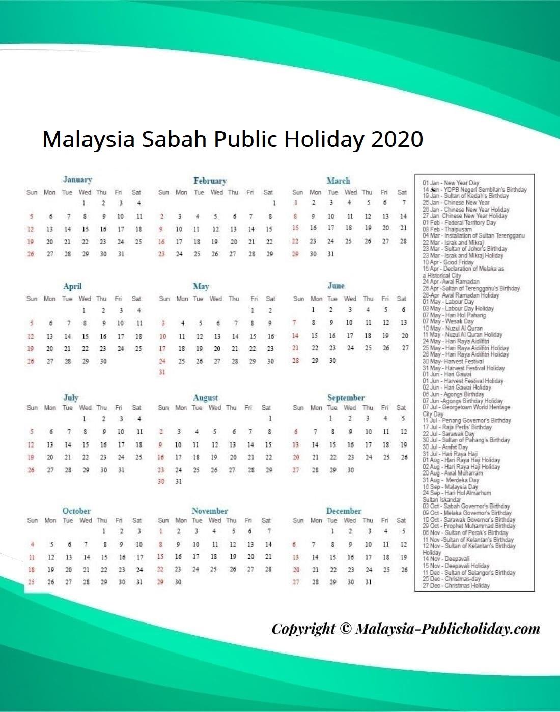 Sabah Public Holiday 2020