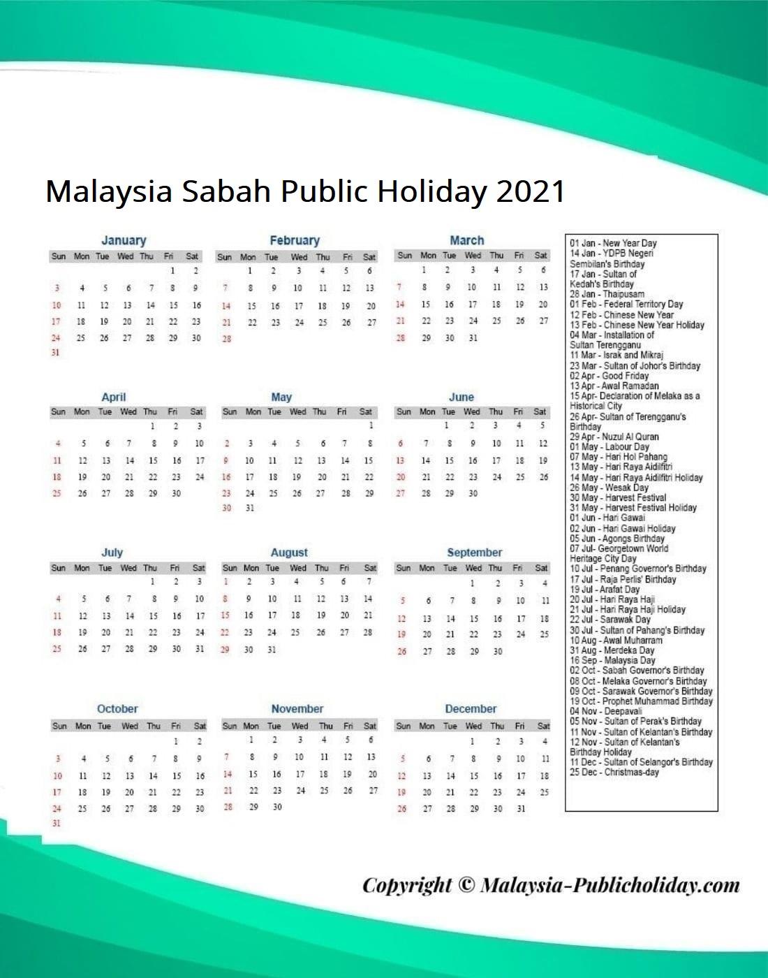 Sabah Public Holiday 2021
