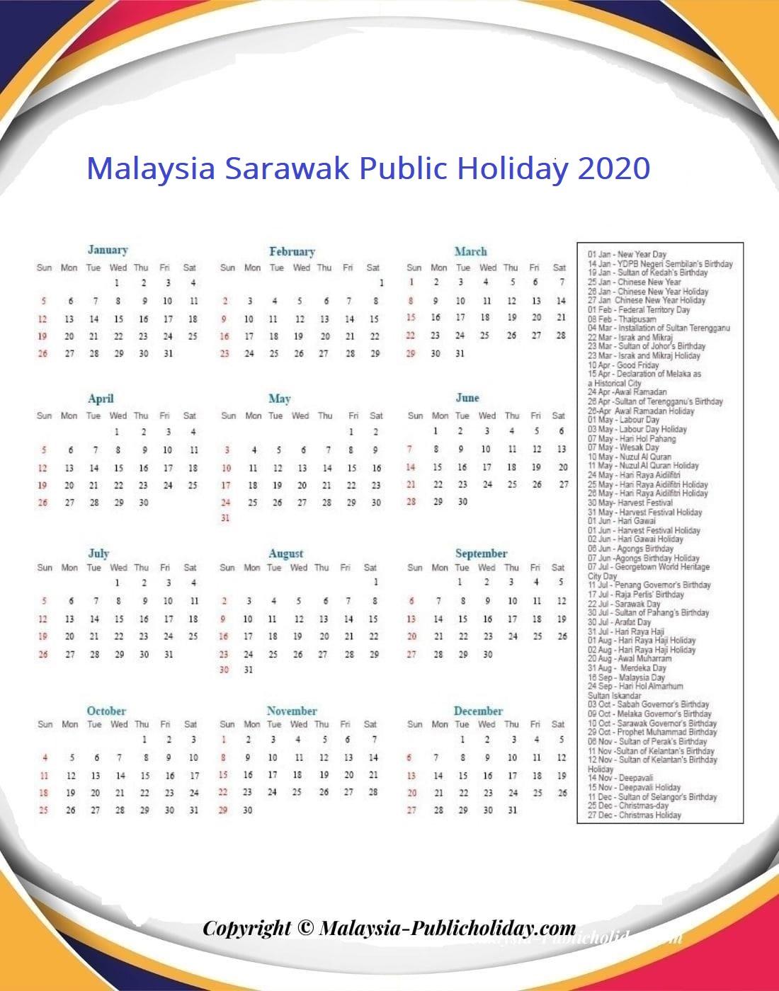 Sarawak Calendars 2020 Malaysia