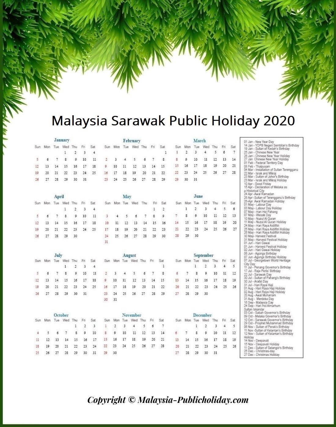 Sarawak Holiday Calendar 2020 Public Federal