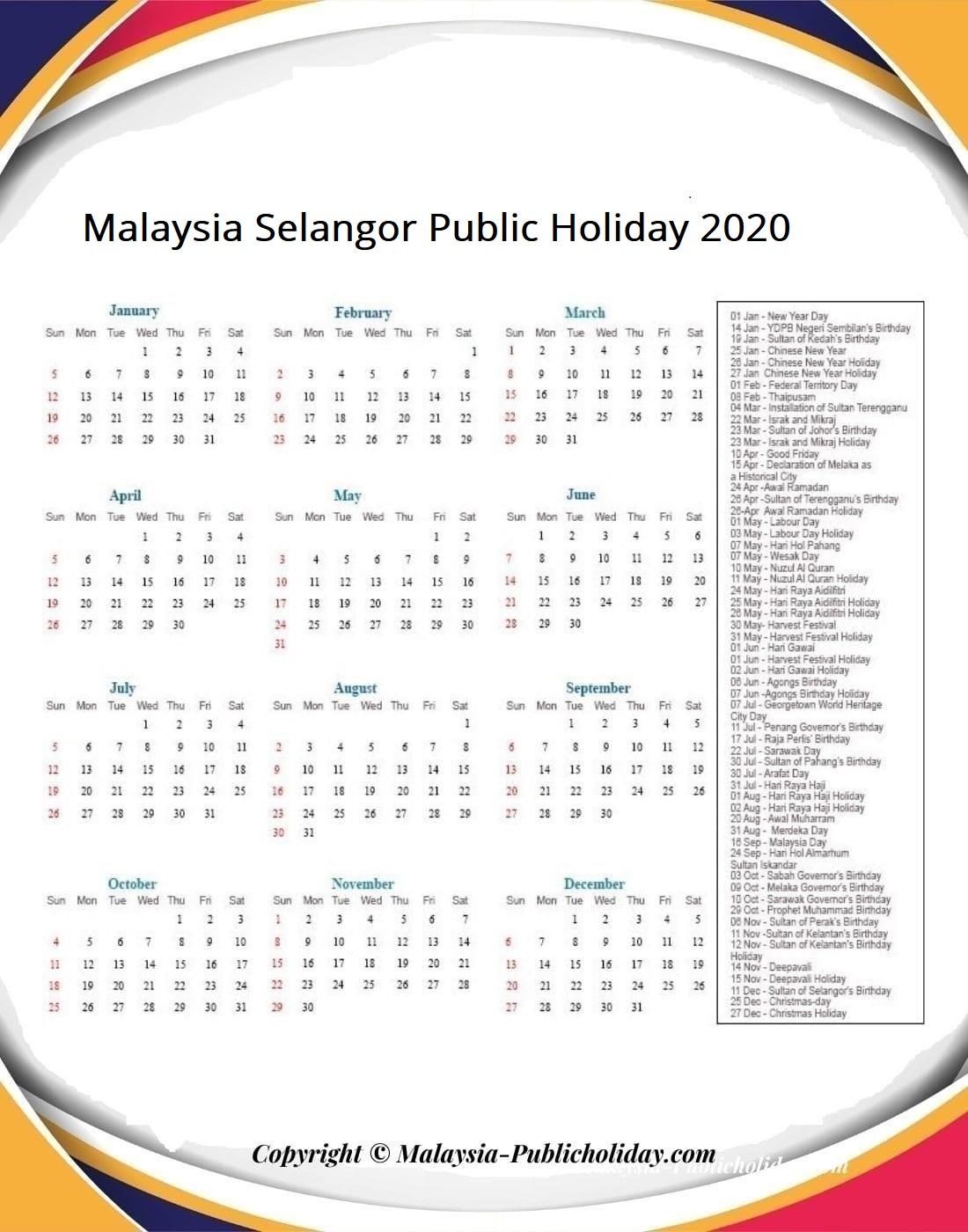 Selangor Calendars 2020 Malaysia