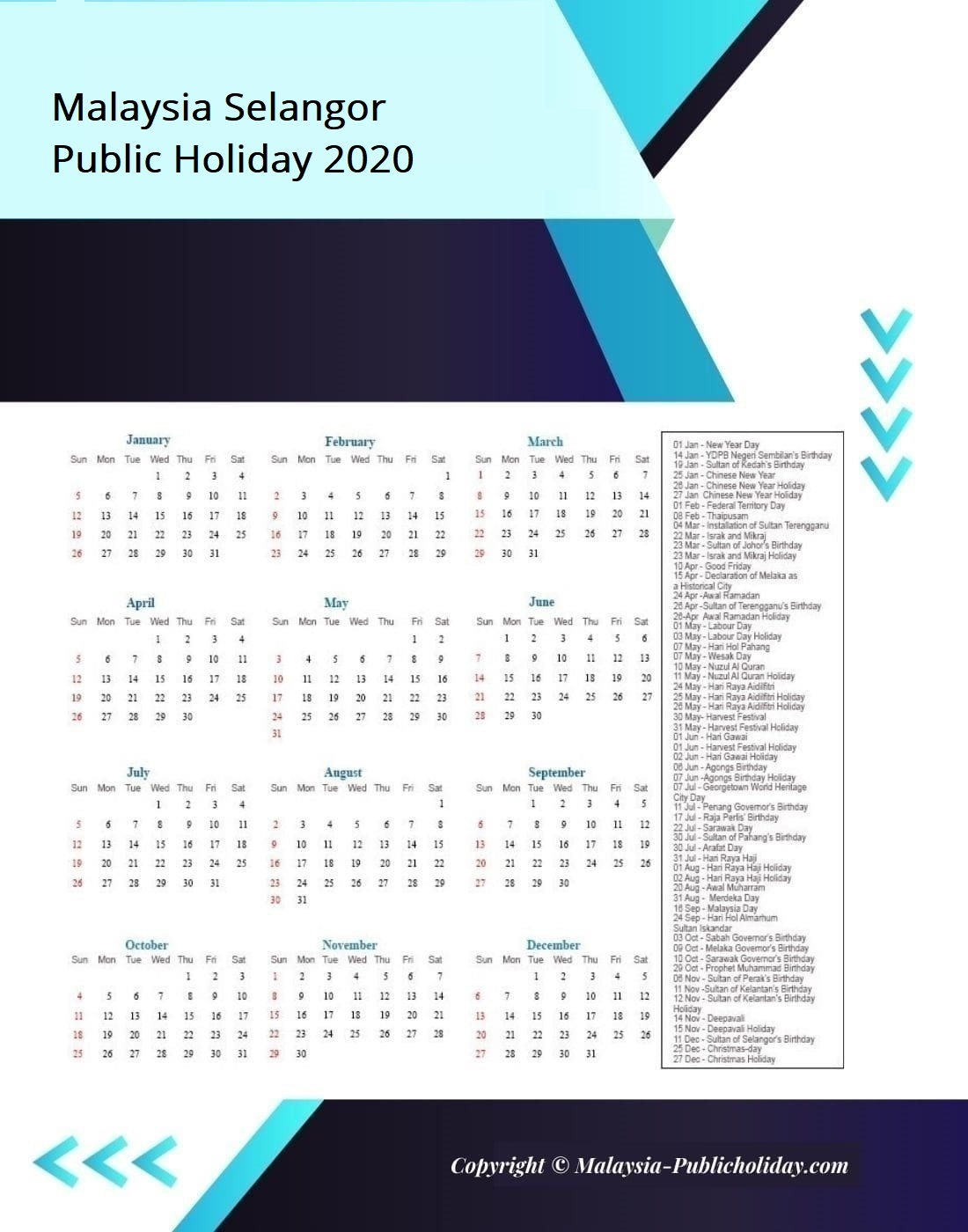 Selangor Calendars with Holidays 2020