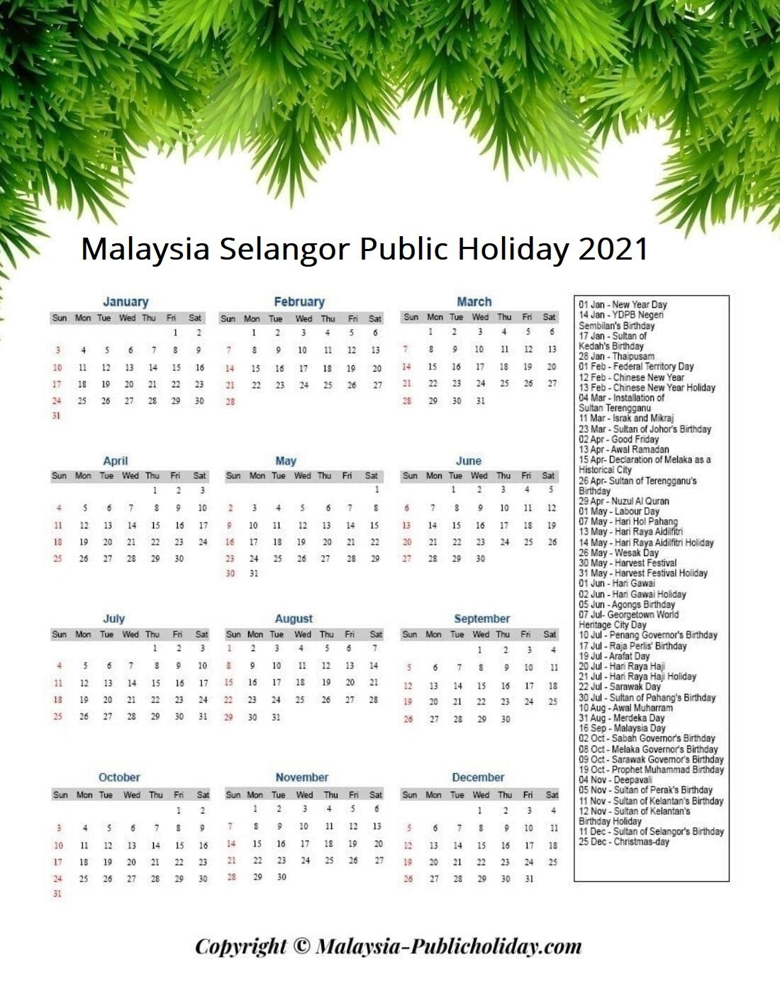 Selangor Holiday 2021 Malaysia