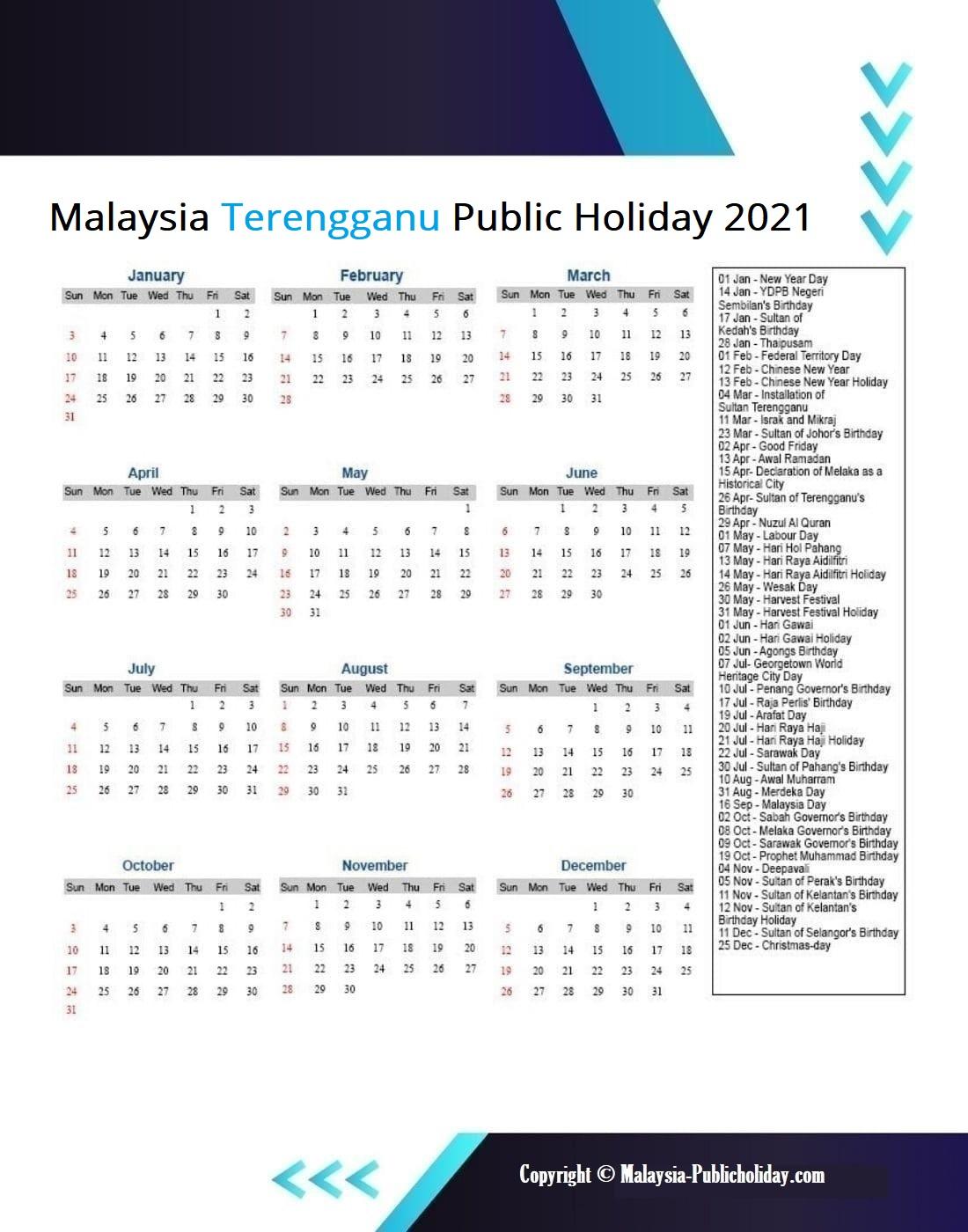 Terengganu Calendars 2021 Malaysia