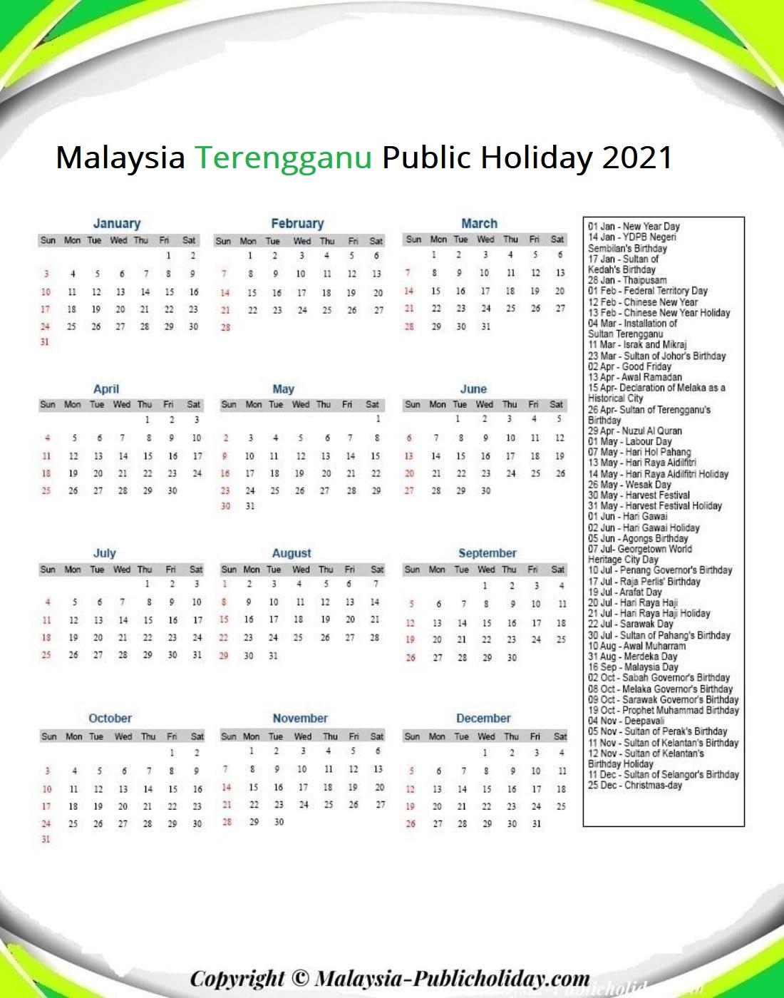 Terengganu Calendars with Holidays 2021