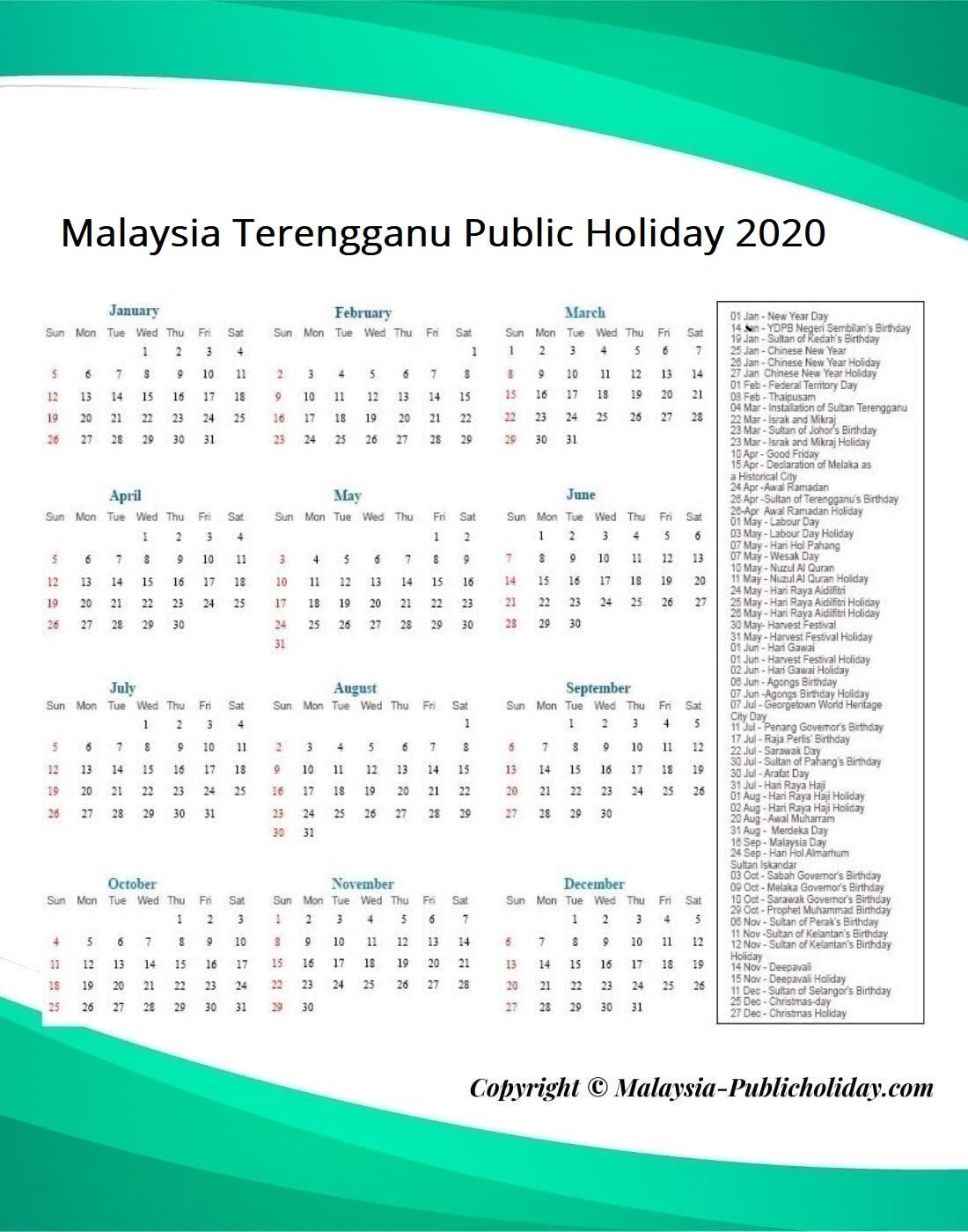 Terengganu Public Holiday 2020